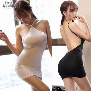 얇은 얼음 실크 페이지의 스트립을 통해 고삐 등이없는 미니 드레스 섹시한 여성 Bodycon 스판덱스는 단단한 투명 나이트 클럽 에로 착용 드레스