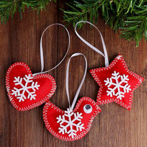 30pcs se sintió adorno del árbol de Navidad rojas afortunado blanco Decoración de aves de fiesta de Navidad de la decoración del hogar Año Nuevo