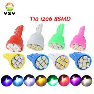 YSY 200PCS 추진 주도 T10 (8)는 1206 8leds 8SMD 자동차 신호 LED 라이트 194 168 192 W5W 3020 DC12V 자동 웨지 조명 화이트 SMD
