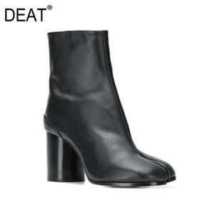 [DEAT] 2020 Круглый Toe Сплит черный Pu кожа Одиночные ботинки женщин Высокие каблуки Короткие сапоги Новая осень зима Мода Tide 10F730