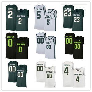 Basketbol Michigan State Spartans Jersey Roket Watt 2 Kyle Ahrens 0 Foster Loyer 3 Jack Hoiberg 10 Brock Washington 14 Joey Hauser Özel