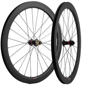 Carbón 700C de ruedas 50 mm Profundidad 25 mm Ancho UD Mate remachador de disco de freno del camino bici de ruedas del eje Thru / QR pinchos
