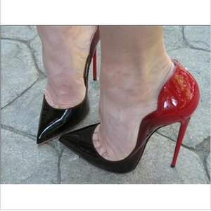2017 INRED Нижняя Cymn Черный Заостренный Носок Экстремальные Насосные каблуки Стилеттоные Женские Насосы Свадебные Платье Платье Черные Насосы Шташки