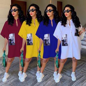 2019 womens camisetas vestido feminino feminino high-end vestidos de rua high street meia lapela lapela Único-peito impresso vestidos branco knee-leng udmx