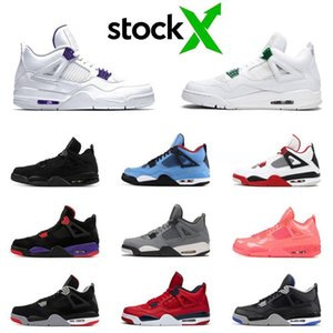 New Stock X Jumpman 4 4s Men Basketball Shoes Metallic Pack COURT PURPLE Pine Green Black Cat Blue Mens Trainers Sports Sneakers 7-13
