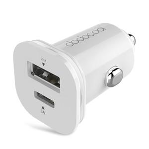 dodocool 25.5W Mini Dual USB Car Charger com Tipo-C porta USB e padrão Tipo-A USB Porto isqueiro carregador rápido carregamento