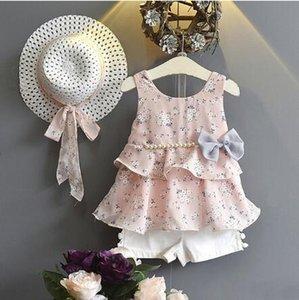 Yaz Kızlar Set Bohemian Kız Suit Çocuk Çiçek Yelek Şort Şapka ile 3 ADET Suit Ekleme Sundress Elbise Prenses Suit