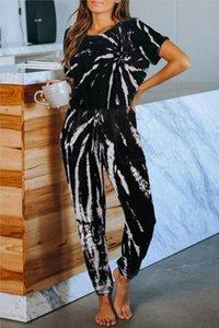 Gratuito per Pigiama tiedye per Womens girocollo Tie Dye pigiama corto Imposta Tie Dye Sleepwear Pajamas tiedye stampa floreale Bwkf