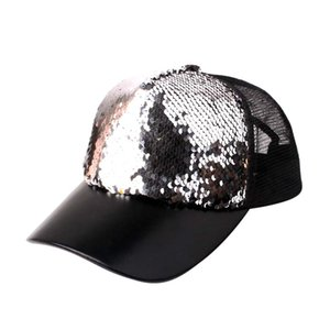 YOUYEDIAN Sequins Patchwork Mesh Cap Baseball Cap Outdoor Net Sun Hat Unisex Adjustable Snapback Versatile Hat