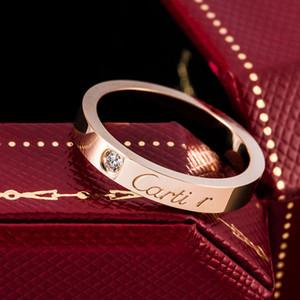 Casal homens / mulheres CZ diamante amor Ring 3 Cor do Anel Aço Titanium alta polido Anéis amante