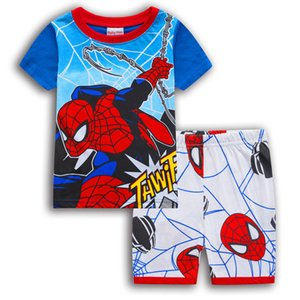 Boys Sets New Cotton Spider-Man Homewear Children's Wear Summer Cartoon Short-sleeved T-shirt + Shorts Children's Pajamas