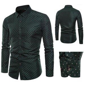 İnce Gömlek Moda Uzun Kollu Bahar Yaka Boyun Günlük Gömlek Homme Tasarımcı Giyim Erkek Floral Print