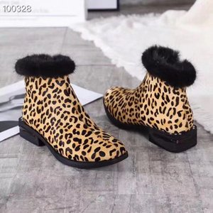 Hot Sale- FASHIONVILLE ~2019091701 LEOPARD BLACK HORSE HIAR FUR TRIM SHORT BOOTS