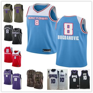 Custom Men's youth SacramentoKings8 Bogdan Bogdanovic 10 Mike Bibby red blue black Throwback Basketball EditionnbaJersey