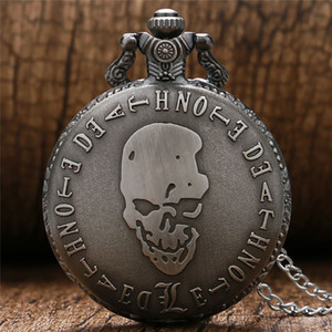 레트로 죽음은 슬림 목걸이 체인 일본 애니메이션 석영 아날로그 시계 멋진 선물과 함께 회중 시계 청동 단단한 두개골을 참고