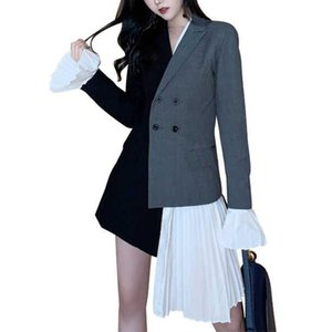 Возможно, U Black Patchwork Asymmrrical Rackch Notch воротник длинные вспышки рукава двубортный карманный карманный пиджак Blazer C0129