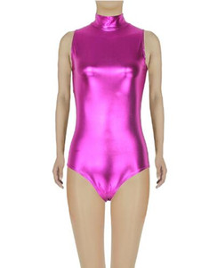 Uomo Donna Bambini Shiny Metallic Sleeveless Dolcevita Body per danza Costume Ragazze Body per ginnastica con Zip Dancewear Top