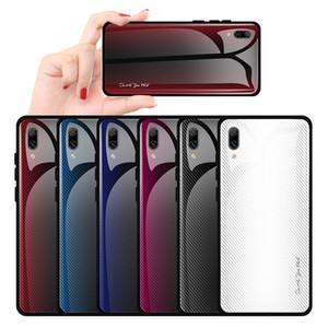 Antichoc Gradient Couleur De Protection Cas De Téléphone Pour Huawei Y9 2019 Y7 Pro 2019 Trempé Couvercle En Verre Cas Souple En Silicone bord