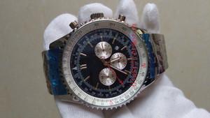azul de marcação de seis pinos cinta de aço mostrador do relógio de negócios superior dos homens de moda de luxo AB011011 C788 Movimento de quartzo de alta resistência ônibus dos homens de vidro