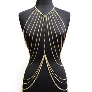 Cadena en capas Crossover cuerpo de señora atractiva color oro collar de múltiples capas de la borla del bikini de la cintura del vientre de la cadena de joyería de Boho del cuerpo de playa