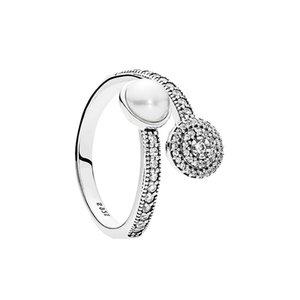 Beyaz Kristal İnci Aydınlık Glow Yüzük Orijinal Kutusu Pandora için 925 Ayar Gümüş lüks tasarımcı takı kadın yüzükler Set
