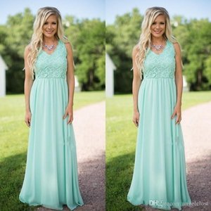 Mint Green Beach Bridesmaids Dresses V Neck Lace Top Floor Length Chiffon Maid Of Honor Dress Wedding Guest Party Gowns Cheap Custom