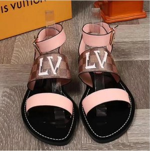 2020 new leather women's summer outdoor sandals black and brown slide beach shoes women's