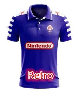1998 1999 Retro Fiorentina Camisas de Futebol Camisas de Futebol 9 BATISTUTA 10 RUI COSTA Costume Do Vintage 98 99 Florença Casa Camisas de Futebol