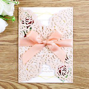 2020 Wunderschöne hellrosa Laserschnitt Einladungen Karten mit Bändern für Hochzeitsbriddusche Verlobung Geburtstagsabschluss einladen