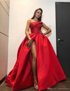 2020 Rojo Tamaño de visitantes vestido de fiesta sin tirantes atractivo vestidos de noche lateral de Split larga alfombra roja de la celebridad más el vestido de partido