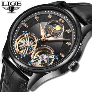 2020 LIGE Men Watch Mechanical Tourbillon Luxury Fashion Brand Leather Male Sports Watches Men Automatic Watch Relogio Masculino