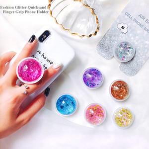 Liquid Glitter Quicksand Finger Grip Push Pull Téléphone Support pour iPhone Samsung Pliable Pocket Socket Air Bag cellule Support stand