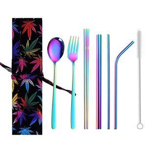 Vajilla de Acero Inoxidable Establece palillos de cucharas cuchillo pajas de limpieza del sistema de cepillo portable colorido de vajilla reutilizable IIA173