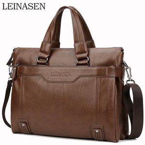 WEIXIER Larger Capacity Shoulder Bag Men Zipper Business Handbag Pocket Soft Leather 15.5'' Laptop Briefcases Messenger Bag CJ191201
