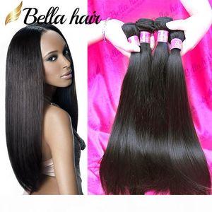 Bella Hair? 8A Mink Brazilian Hair Bundles Black Double Weft Straight Hair Extensions 8~30in 4Bundles Straight Human Hair Weave