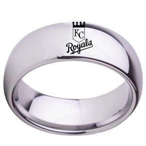 8MM Art und Weise Europa und den Vereinigten Staaten Baseball-Team Kansas City Teamlogo Edelstahl männlichen Ring 5colors wasserdichte Ring