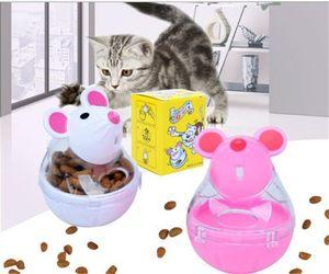 Plastique Tumbler souris alimentaire Leaker Cartoon Pet Cat Fun Foods Fuites balle de riz blanc Intelligence Jouets éducatifs Chariots 5 78za L1