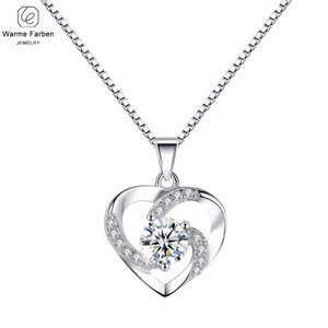 Warme Farben moda mujer collar plateado plata CZ Zircon en forma de corazón colgante collar gargantilla joyería Collare regalo para mujer