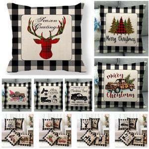 Noel ağacı Reindeer Ev Araba Koltuk Dekorasyon HH9-2502 için İngiliz Noel Yastık Kılıfı Ekose Merry Christmas Atma Yastık Kapak