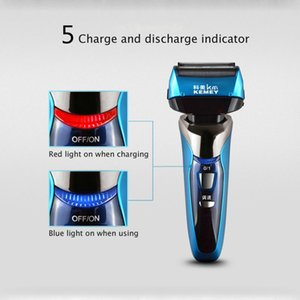 Kemei 8150 3D Electric Shaver Floating 4 Blade Wireless Rechargeable Beard Trimer Washable Lcd Display For Men Beard Razor Machine vrqGK