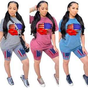 US Independent Day Women Tracksuits Casual Short Sleeve O Neck Two Piece Shorts 20ss New Women Summer Clothing