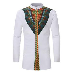 Laamei 2019 Урожай Мужчины Этническая Печать топ футболки С Длинным Рукавом Стенд Воротник Африканский Принт Dashiki Рубашка белая мужская одежда