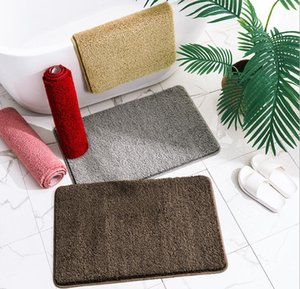 Bath rug reusable hotel supply water absorbent soft microfiber shaggy bathroom bathroom rug for hotel bathroom dark RED