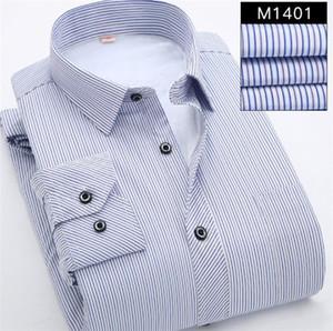 Mens Striped Pluse Größe Casual Shirts Ältere Menschen Herbst Wintetr plus Samt dick Halten Warm Shirt Männer Designerkleidung