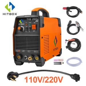 HITBOX TIG Stick MMA IGBT 220V 200Amp saldatore ad alta frequenza saldatrice portatile con il supporto della presa di terra morsetto Tig Gun