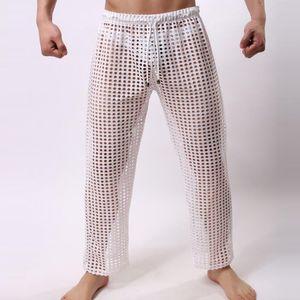 Hommes Pyjama Bas Sexy See Through pantalon de pyjama transparent Pyjama homme respirant Mesh sommeil Pantalons Sous-vêtements Gay Lingerie