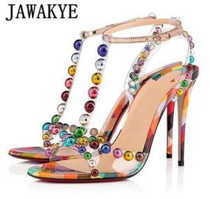 Rainbow Color Studed PVC Sandals Stiletto Chaussures à talons hauts à bout ouvert T-strap Party Femmes