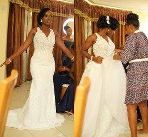 Africanos blancos vestidos de novia de sirena con el tren desmontable cuello en V ver a través Apliques chica Negro Jardín del país más el tamaño de vestidos de novia