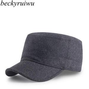 Beckyruiwu Baba Hediye Erkek Düz Fleece Erkekler Sonbahar Ve Kış Sıcak Yün Keçe Düz Ordu Caps ile Katı Beyzbol Şapka Peaked