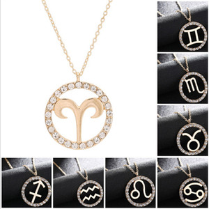 12 Zodiac Constellation Necklace Gold Chain Virgo Libra Scorpio Sagittarius Capricorn Iced Out Circle Diamond Pendant Gift Jewelry for Women